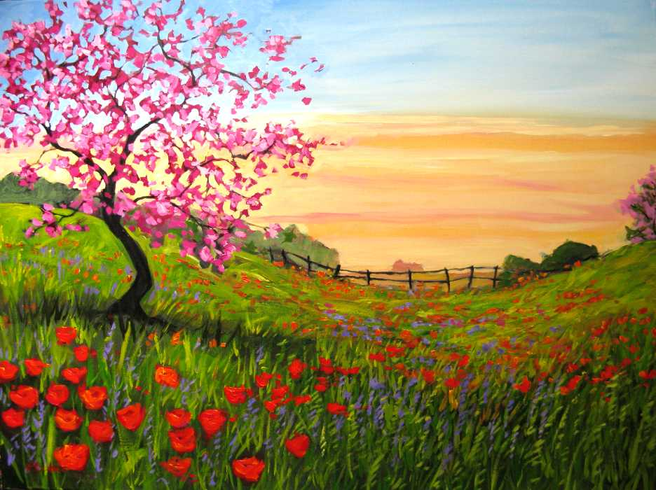 spring motif painting landscape - photo #20