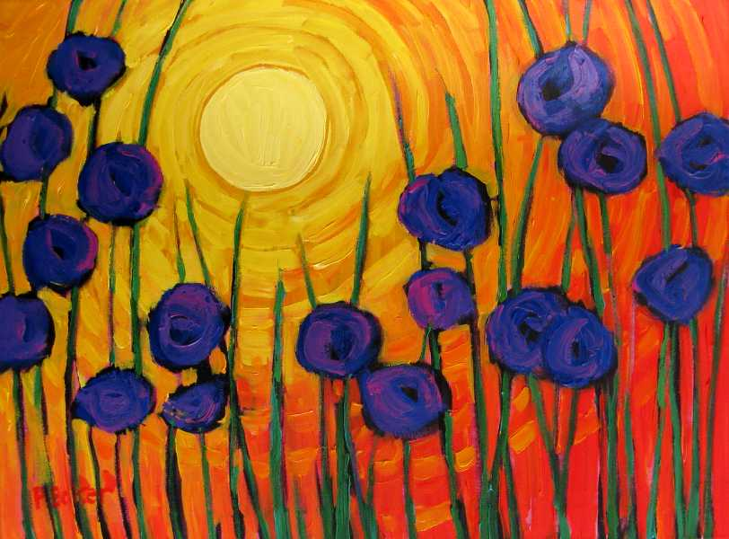 Purple Poppies On Red II